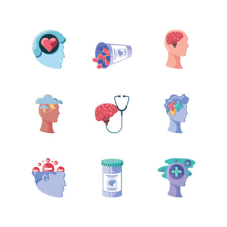 set of icons mental health on white background vector illustration design