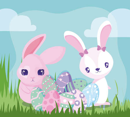 Happy easter rabbits with eggs design, Spring decoration holiday greeting ornament celebration festive season tradition and festival theme Vector illustration Archivio Fotografico - 149826745