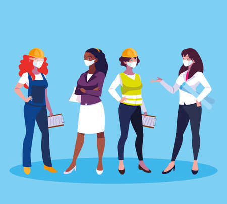 Architect businesswoman engineer and builder woman with masks and helmets design, Women workers theme Vector illustration Vectores