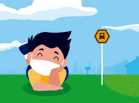 Boy kid cartoon with mask at bus station design of Covid 19 virus theme Vector illustration
