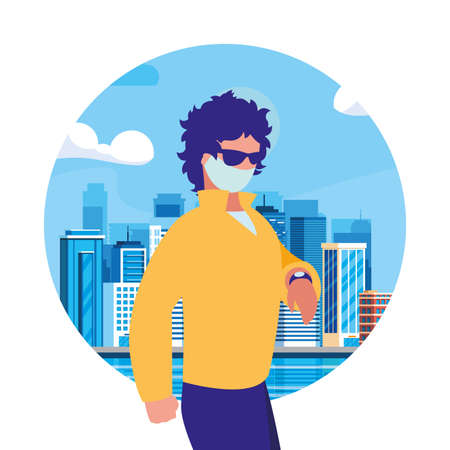 Man in the city wearing face mask vector illustration design 向量圖像