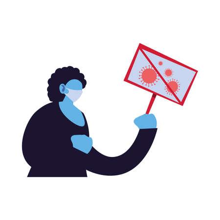 woman warns of new coronavirus vector illustration design