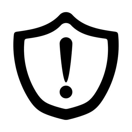 Exclamation mark inside shield silhouette style icon design, Alarm caution warning and problem theme Vector illustration
