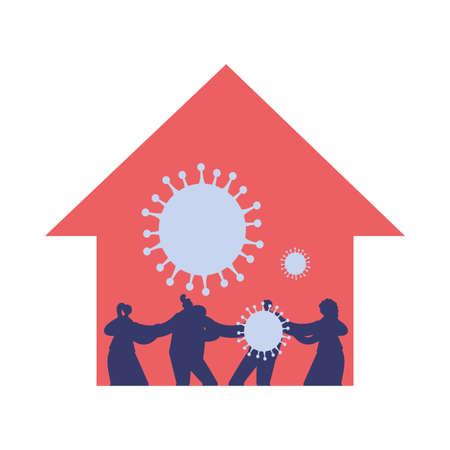 family infected with new coronavirus vector illustration Çizim