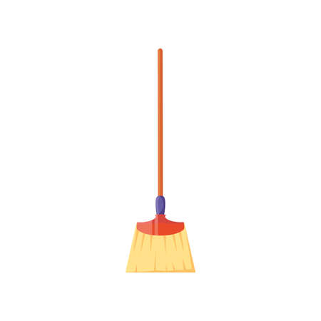 broom of long handle on white background vector illustration design Illustration