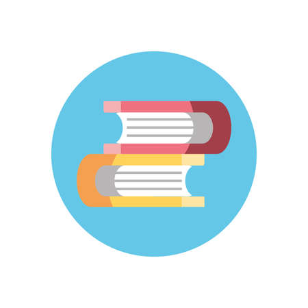 books icon over white background, colorful block style, vector illustration