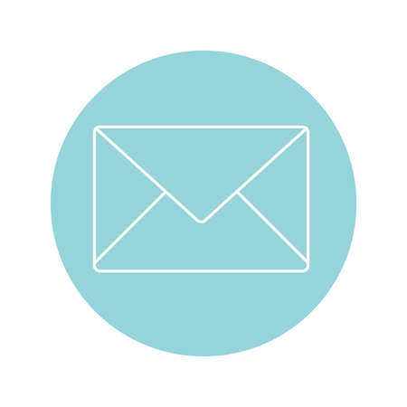 envelope icon over blue circle and white background, vector illustration