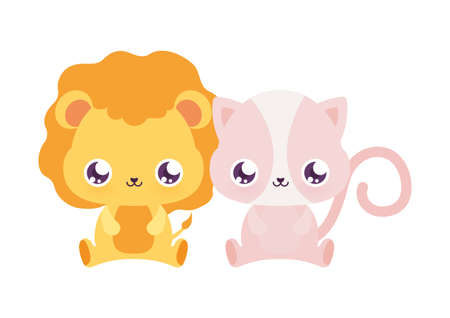 lion and cat cartoons design, Kawaii animals expression cute character funny and emoticon theme Vector illustration Vettoriali
