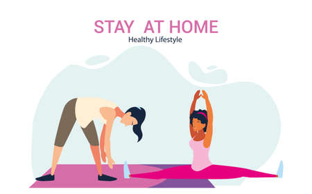women doing stretching and strength exercise at home vector illustration design