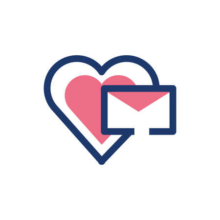 Envelope and heart design, Message email mail letter marketing communication card and document theme Vector illustration 矢量图像