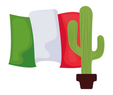 cactus in pot plant with mexico flag vector illustration design