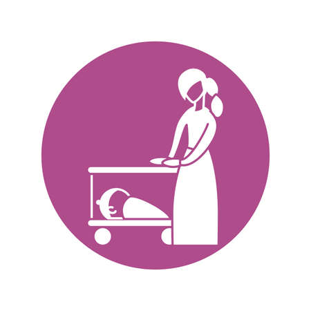 woman with baby in the cot, silhouette style icon vector illustration design
