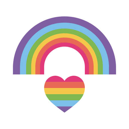 lgtbi rainbow over heart flat style icon design, Pride day sexual orientation and identity theme Vector illustration Vectores