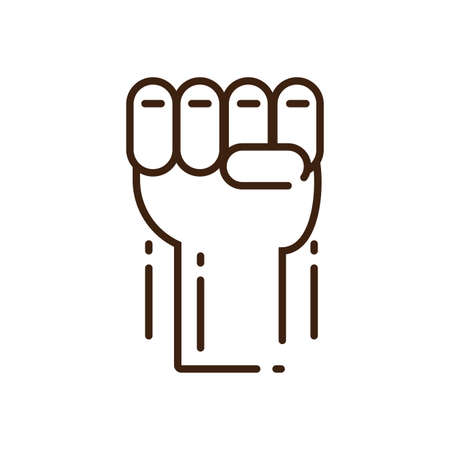 hand with fist up over white background, line style icon, vector illustration design Vectores