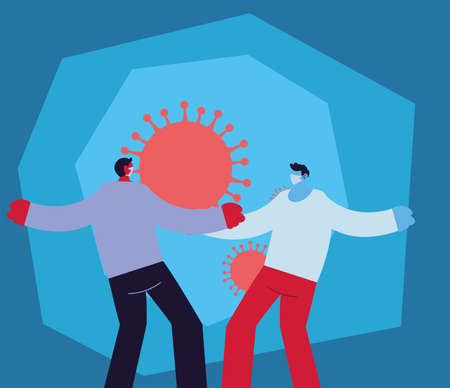 young men infected with new coronavirus vector illustration Çizim