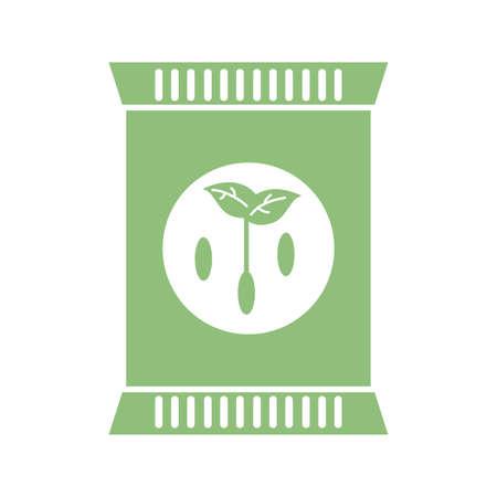 fertilizer bag icon over white background, flat detail style, vector illustration Illustration