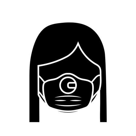 woman wearing medical surgical face mask , silhouette style icon vector illustration design