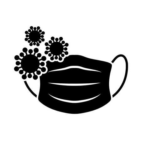 corona anti virus mask , silhouette style icon vector illustration design