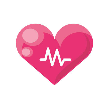heart and electrocardiogram wave on white background vector illustration design