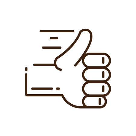 hand with thumb up icon over white background, line style, vector illustration design