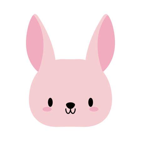 head rabbit baby kawaii, flat style icon vector illustration design Vettoriali
