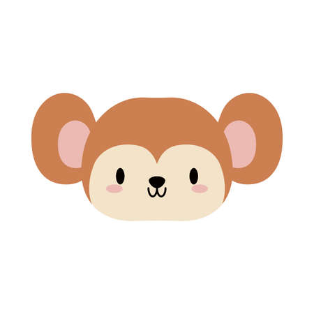 head of monkey baby kawaii, flat style icon vector illustration design