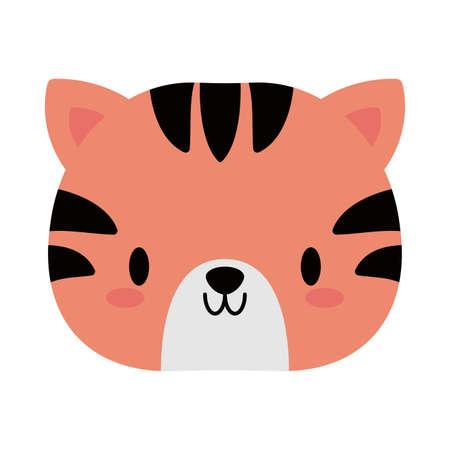 head of tiger baby kawaii, flat style icon vector illustration design Çizim