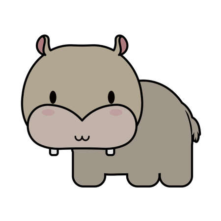 cute hippo baby kawaii, line and fill style icon vector illustration design