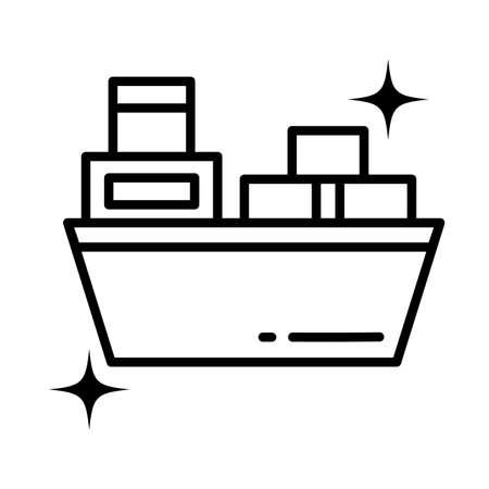 cargo ship maritume transport , line style icon vector illustration design