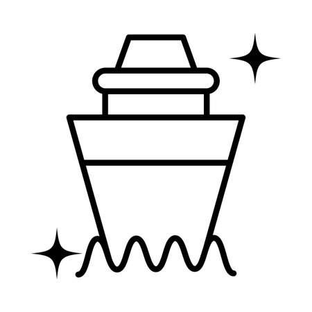 cargo boat , line style icon vector illustration design