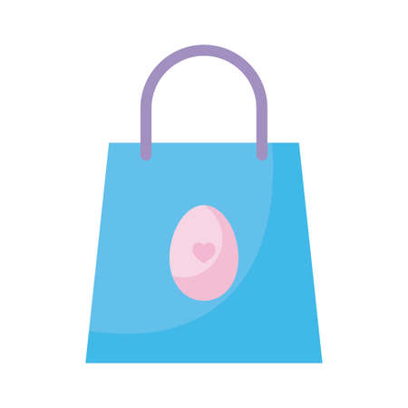Happy easter egg inside bag flat style icon design, Spring decoration holiday greeting ornament celebration festive season tradition and festival theme Vector illustration