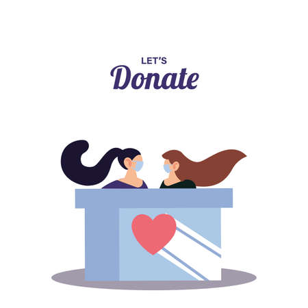 women with mask delivery donation vector illustration design