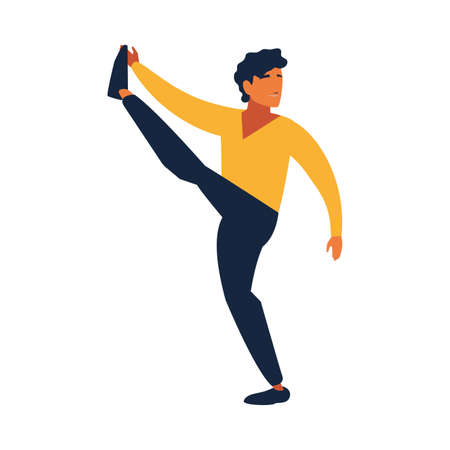 man doing stretching exercises at home vector illustration design Ilustração