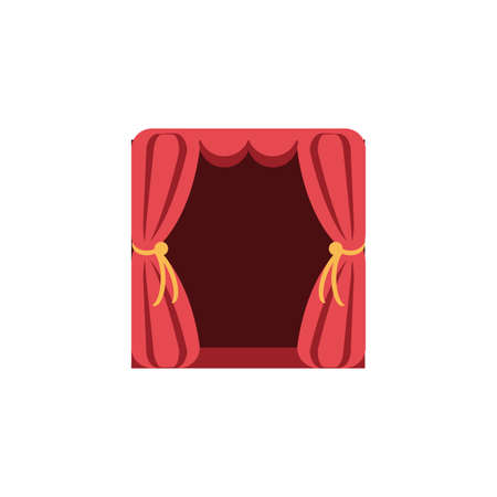curtains, red, theatrical, hanging, vector illustration design Illustration