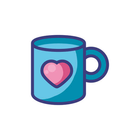 coffee mug with heart design of love passion romantic valentines day wedding decoration and marriage theme Vector illustration