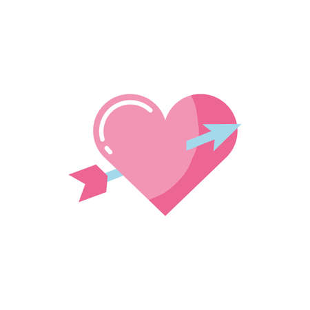 Heart and arrow design of love passion romantic valentines day wedding decoration and marriage theme Vector illustration