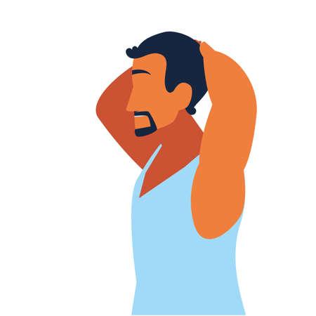 man doing muscle exercises at home vector illustration design Ilustração
