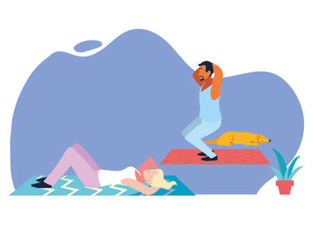 couple doing stretching and strength exercise at home vector illustration design