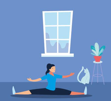 woman doing stretching exercises in living room vector illustration design Ilustração