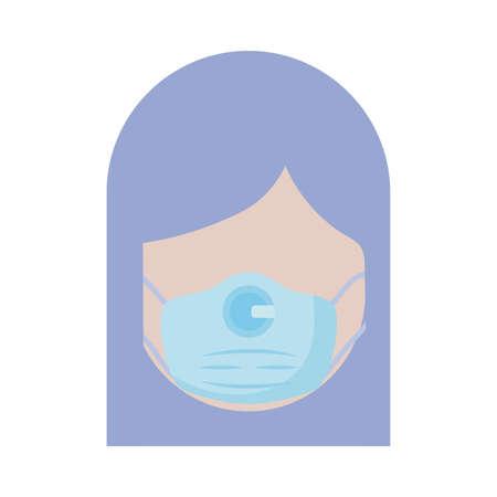 woman wearing medical surgical face mask , flat style icon vector illustration design Illusztráció