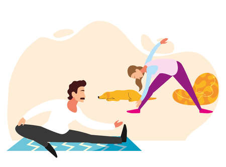 couple doing stretching and strength exercises in living room vector illustration design