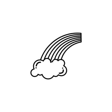 rainbow with clouds, flat style icon vector illustration design