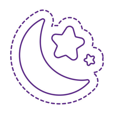 moon and stars line style icon design, Cute patch expression emoticon and childhood theme Vector illustration Illusztráció