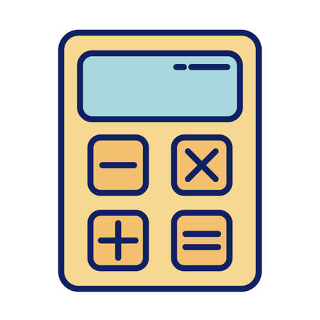 calculator math finance, line and fill style iconvector illustration design Ilustração
