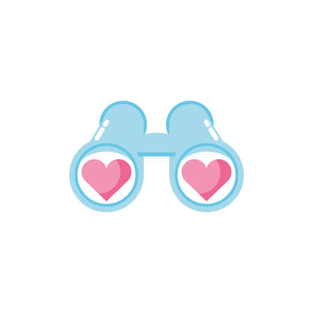 Hearts and binoculars design of love passion romantic valentines day wedding decoration and marriage theme Vector illustration