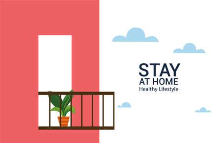 modern building with balcony and flower pot vector illustration design Ilustração