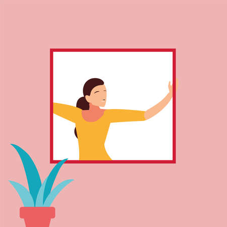 woman at the window doing dance exercises at home vector illustration design
