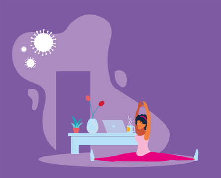 woman doing stretching exercises at home to avoid virus vector illustration design