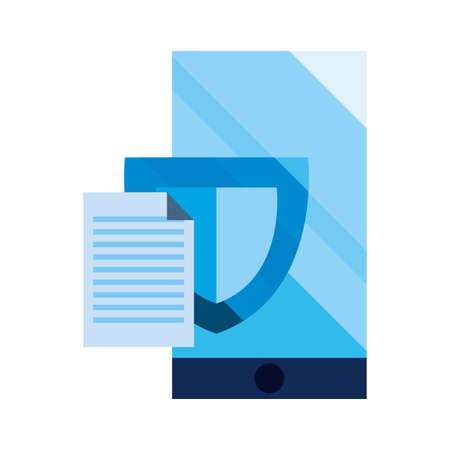 smartphone shield information cybersecurity data protection vector illustration