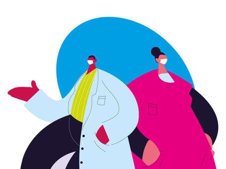couple of doctors wearing medical uniform and face masks vector illustration design Illusztráció